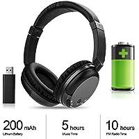 Tv Earphones Wireless Headphones RF Headphones 3.5mm Wired Earphones Hifi Stereo Rechargeable Headset with FM Radio for PC TV MP3 MP4 Audio