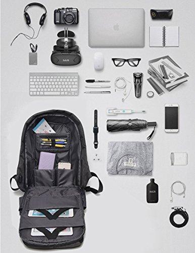 Unisex Taschen Computer Tasche Canvas Bag Rucksack Diebstahlsichere Funktionelle Tasche All Seasons Grey