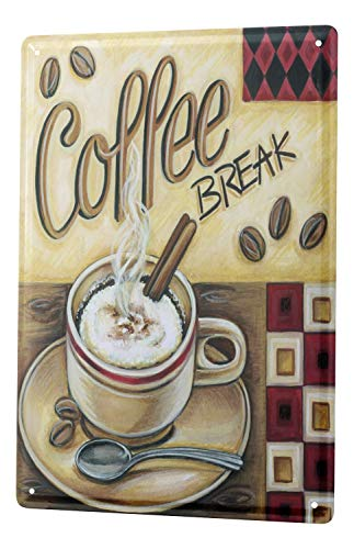 Coffee Theme Decorations - LEotiE SINCE 2004 Tin Sign Metal Plate Decorative Sign Home Decor Plaques Fun Kitchen Decoration Coffee Break Cappuccino Metal Plate 8X12
