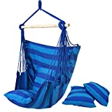 HPD Cotton Striped Hanging Hammock Rope Chair Porch Swing Seat Camping Patio (Blue) Review