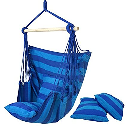 HPD Cotton Striped Hanging Hammock Rope Chair Porch Swing Seat Camping Patio (Blue)