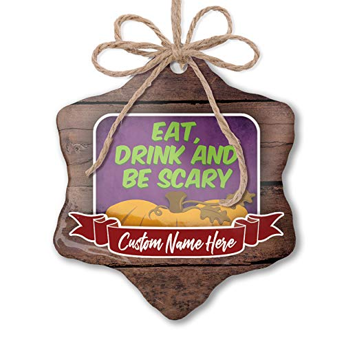 NEONBLOND Custom Family Ornament Eat, Drink and Be Scary Halloween Pumpkin Top Personalized Name -