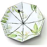 Laluna 日傘 折り畳み傘 レディース 8本骨 耐風 撥水折り畳み傘 210T 高密度黒グルー塗布 UVカット 遮光傘 晴雨兼用折りたたみ傘(春の庭)
