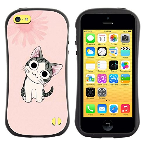All-Round Hybrid Rubber Case Hard Cover Protective Accessory Gerneration-I Compatible with Apple iPhone 5C - Cute Japanese Pink Cat