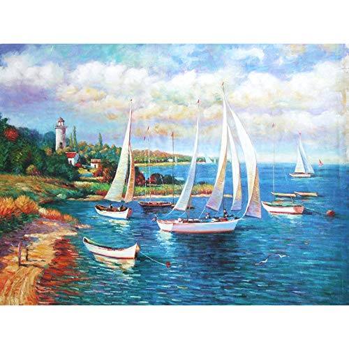 zhui star DIY Round Diamond Painting Kits for Adults Full Drill Cross Stitch Small Sailing Ships on The sea Home Decoration 40x50CM