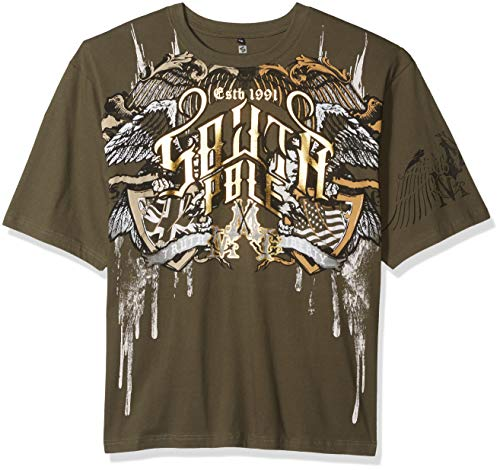 - Southpole Men's Short Sleeve Graphic Tee Collection, Olive Wings, 5XB