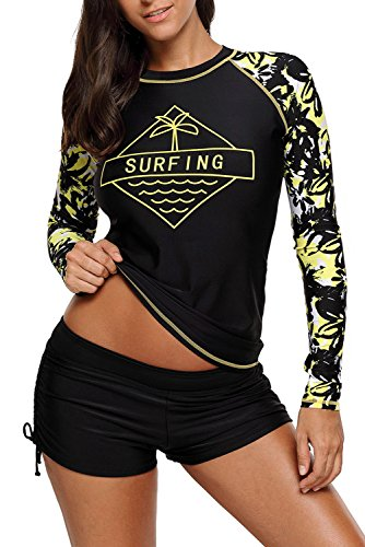 CHARMCZ 2 Pcs Women's Swimsuit Rash Guard Long Sleeve Tankini UV Sun Protection Athletic Cover - Modern Swimwear