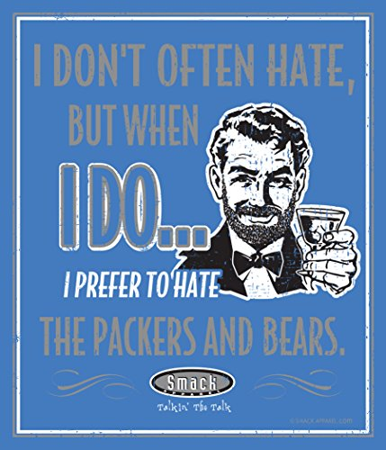 Smack Apparel Detroit Lions Fans. I Prefer to Hate The Packers and Bears. 12'' X 14'' Blue Metal Man Cave Sign