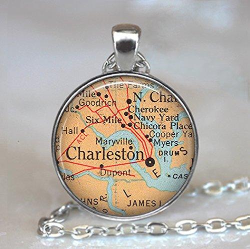 (Charleston, South Carolina map pendant, Charleston map pendant, Charleston necklace, Charleston)