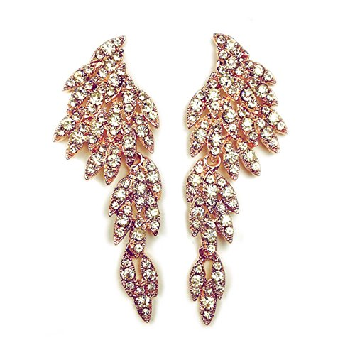 Angel Eagle Wings Rhinestones Studded Dangling Drop Statement Earrings for Women Perfect for Holiday Party - BOX, CARD & ENVELOPE INCLUDED FOR EASY GIFTING (Rose (Studded Wing)