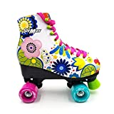 girls roller skates size 1 - Stemax Quad Roller Skates for Girls / Outdoor Classic High Cuff Quad Skates with Lace System (Floral, 32)
