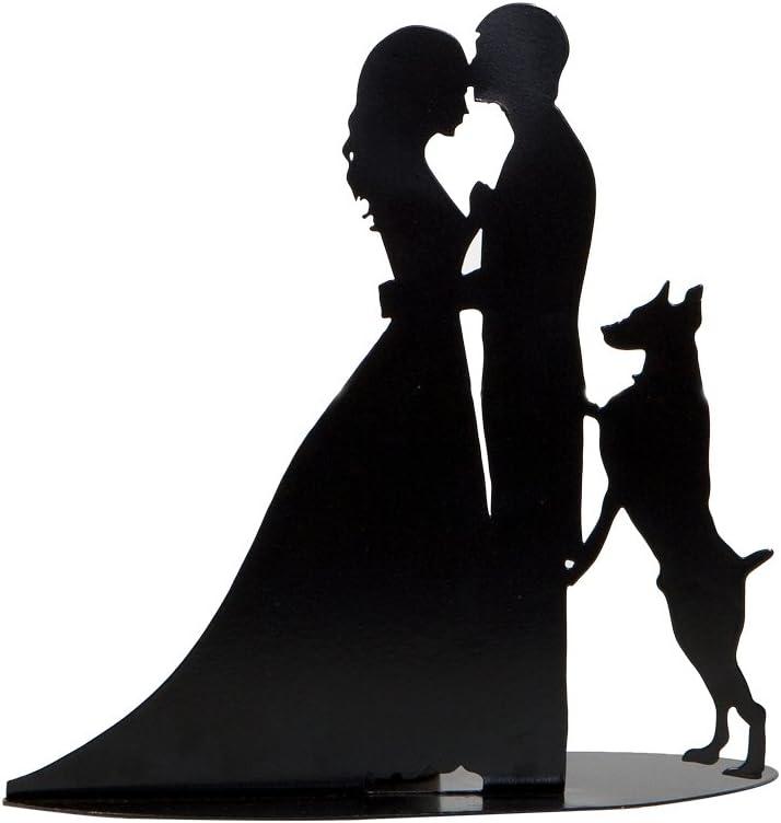 Mopec Figura de Los Novios con Perro, Metal, Negro, 7x19x18 cm