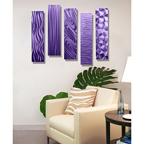 Purple Rectangular Metal Wall Art Accent - Multi Panel Wall -