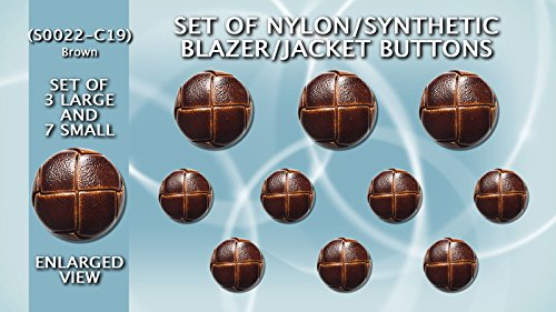 Set of Synthetic/Nylon Imitation Leather Shank Blazer Buttons 3 Large & 7 Small - S0022-C19-BROWN - Brown