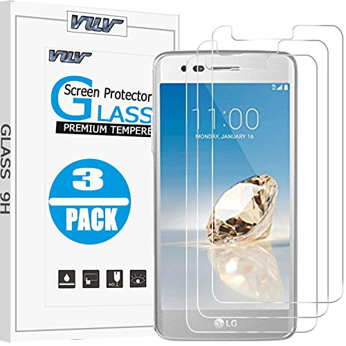 [3-Pack] LG Aristo Screen Protector, KinPond Glass Screen Protector HD Clear Anti-scratch Bubble Free 9H Hardness Ballistic Glass Screen Protector for LG Aristo/LG LV3/MS210/LG K8 2017