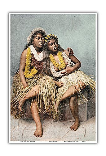 - Hawaiian Beauties - Two Native Hawaiian Girls in Grass Skirts and Flower Leis - Vintage Hawaiian Color Postcard c.1880s - Hawaiian Master Art Print - 13 x 19in