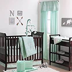 Mint Green Tribal Print Geometric Boy's 5 Piece Crib Bedding Set by The Peanut Shell