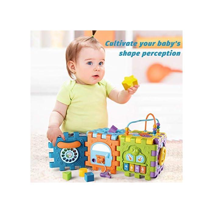 Juguete de Bebé Multipropósito 6 en 1: -Clasificador de formas, un piano multimodo, volante, juego de abrir puertas, juego de marcación números, engranajes y cuentas. Compre 1 juguete, su bebé podrá obtener más educación. Gran Regalo de Juguete Educativo para Niños- Este juguete es ideal para cumpleaños/Navidad de niños. Anime a su hijo a reconocer formas, colores y más a medida que desarrollan habilidades motoras y buena resolución de problemas. Su regalo reflexivo pondrá una gran sonrisa en un pequeña y bonita cara Creativo e Interactivo- Nuestros cubos de actividad son vibrantes con bonitos rostros de animales de dibujos animados que atraen la atención de los niños rápidamente y les agregan más diversión durante el tiempo de juego