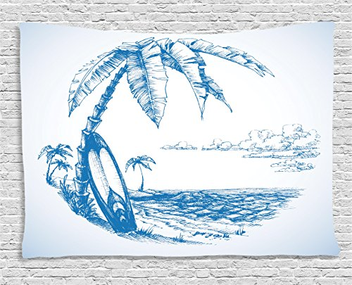Ambesonne Surf Tapestry, Contemporary Sketch Illustration Hawaiian Beach with Surfboard Palms and Ocean Water, Wide Wall Hanging for Bedroom Living Room Dorm, 80