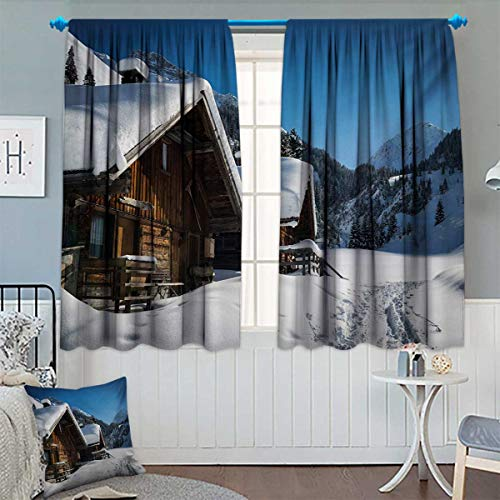 (Winter Patterned Drape for Glass Door Wooden Houses on Austrian Mountains Snowy Forest Cottage Holiday Destination Waterproof Window Curtain 63