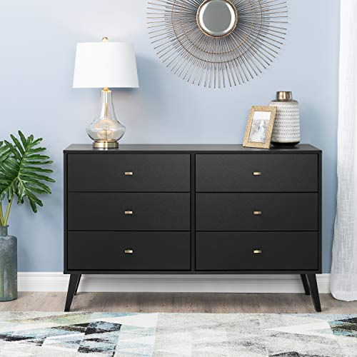 Prepac Milo Mid Century Modern 6 Drawer Double Dresser in Black ()