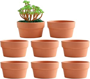 Yishang 5 Inch Shallow Terracotta Clay pots with Drain Hole,Ceramic Plant pots for Indoor/Outdoor Plants,Unglazed Bonsai Planter for Cacuts/Succulent Plants