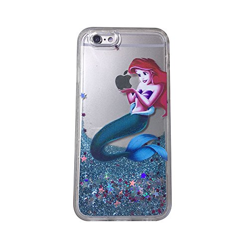 Ariel Iphone Case - Upgraded Version [ Anti-dropping shockproof ] Brilliant Luxury Glitter Liquid Floating Protective Cover for iPhone 6 Plus or iPhone 6S Plus(5.5inch), Little Mermaid Ariel Snow White Holding Logo Apple