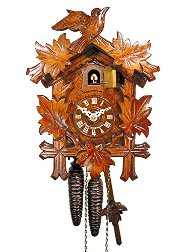 Original German cuckoo-clock (certified), mechanical 1-day movement with 1 bird and 5 leaves, coo-coo clocks from the Black-Forest, Germany by DV-Marketing, Schwarzwälder -