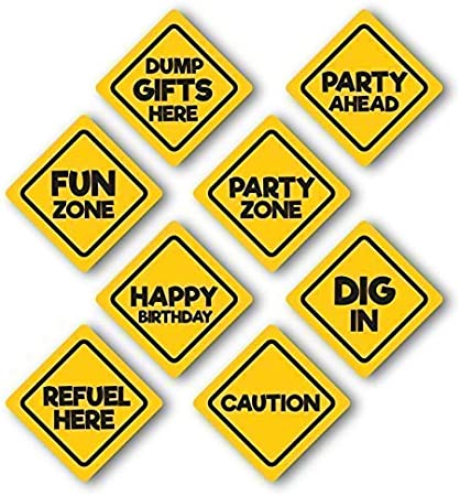 Amazon Com Jayd Products Construction Birthday Party Caution Signs 8 Pack Toys Games