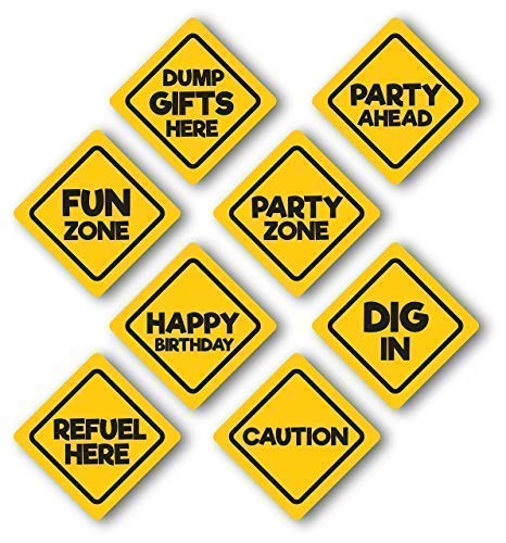Jayd Products, Construction Birthday Party Signs, 8 Pack,