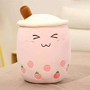 Yuncheng Baby Gift Toy Plush Toy Plush Doll Figurine Toy Pet Pillow Animal, 25/35cm Cute Cartoon Fruit Bubble Tea Cup Shaped Pillow With Suction Tubes Real-life Stuffed Soft Back Cushion Funny Boba Fo