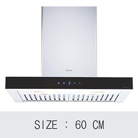 Elica 60 cm 1220 m3/hr Chimney (SPOT ETB PLUS LTW 60 TC3V LED, 2 Baffle Filters, Touch Control, Steel & Black)