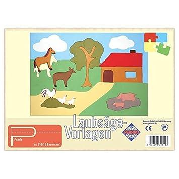 Matches21 Bauernhof Holz Laubsägevorlage Din A4 Puzzle Holzvorlage