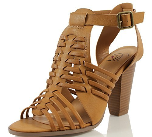 ya Strappy Gladiator Open Toe Stacked Heel Sandal, Tan, 65 M US (Strappy Gladiator Heel Sandal)