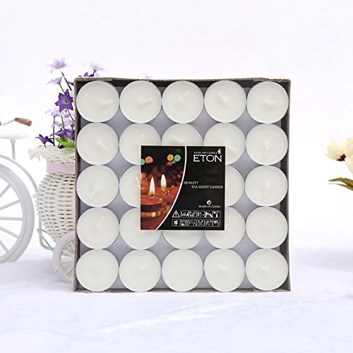 Zebery® 50 Pcs smokeless aromatherapy candle tea turn the circular candles red white wedding decoration tea wax candles (White)