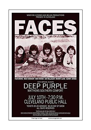 (Raw Sugar Art Studio Faces/Rod Stewart/Deep Purple 1971 Cleveland Concert Poster)