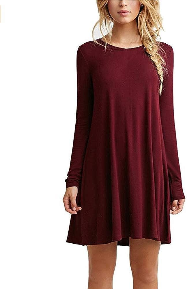 ZHANGNA Mujer Suelto Casual Vestido de la Camiseta