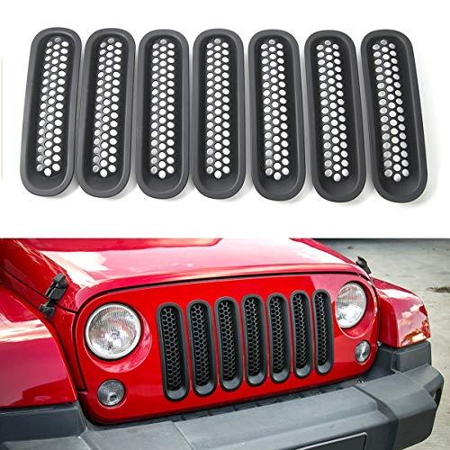 Matte Black Clip-in Front Grille Mesh Inserts for 2007-2015 Jeep JK Wrangler - Wrangler Unlimited (Pack of 7)