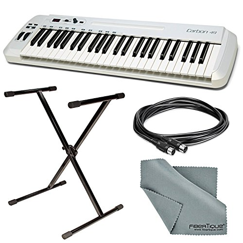 Samson Carbon 49 USB/MIDI Keyboard Controller with Stand + Cable + FiberTique Cloth by Photo Savings