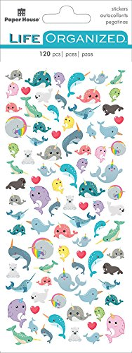 Paper House Productions STM-0019E Micro Sticker, Narwhal, 3-Pack, Multi 3 Piece ()