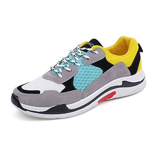 fereshte Couple Unisex Fashion Sneakers Women's Men's Breathable Mesh Athletic Running Sports Shoes Gym Fitness Trainers,Men Need 1-1.5 Sides up Yellow