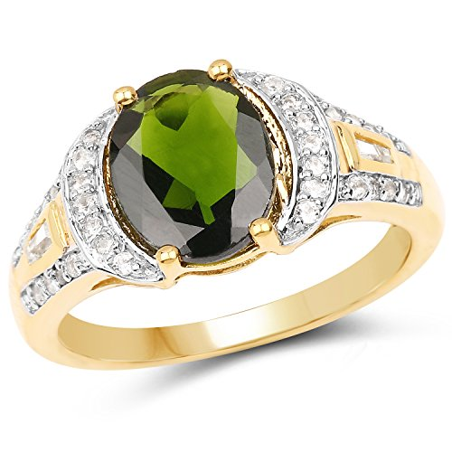925 Sterling Silver & 18K Yellow Gold Plated Genuine Chrome Diopside and White Topaz Ring (2.79 Carat) Size 10