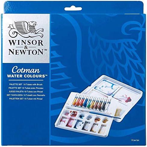 Winsor & Newton Cotman - Set de acuarela, caja paleta con 10 tubos: Amazon.es: Oficina y papelería