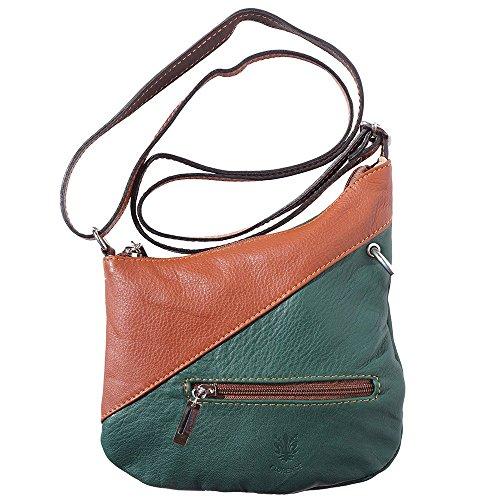 Mini Shoulder Bag In Soft, Genuine Leather Dark-brown 401 Green
