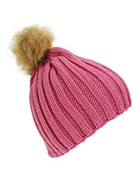 Childrens Girls Cable Knit Faux Fur Pom Pom Winter Beanie Hat (One Size) (Pink)