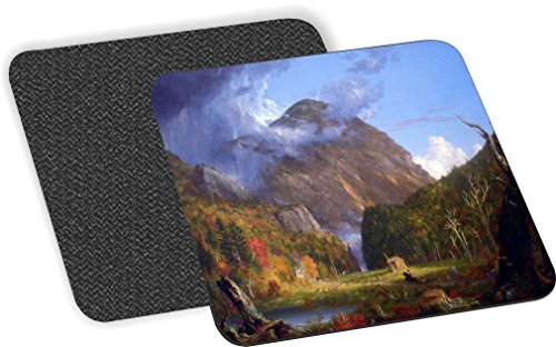 Rikki Knight Thomas Cole Art A View of the Mountain Pass Design-Soft Square Beer Coasters (Set of 2), Multicolor