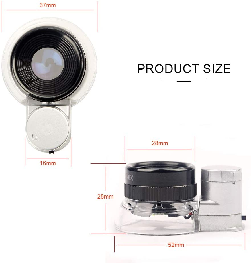 Engravings 20X Jewelers Loupe Magnifier Yasorn LED Lighted Illuminated Magnifier Portable with LED Magnifying Triplet Glass Eye Loop Lens for Jewelry Diamonds Gems Stamp Coins