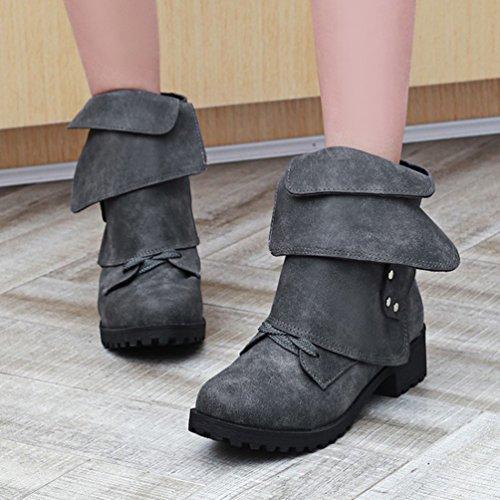 Retro Nero Grande Snow Boots Stivaletti Invernali Stivali Codice Donna Cavaliere Yiiquan Martin Rx57Zfq