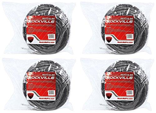 4 Rockville RCTT1250 50' 12 AWG 1/4'' TS to 1/4'' TS Pro Speaker Cable 100% Copper by Rockville