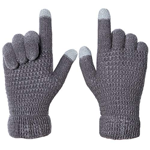 Senker Womens Winter Touchscreen Knit Gloves Warm Cozy Cashmere Lining Texting for Smartphones